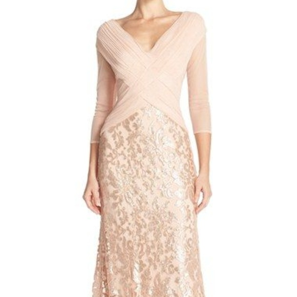 Tadashi Shoji Dresses   Sale Sequin Lace Gown   Poshmark